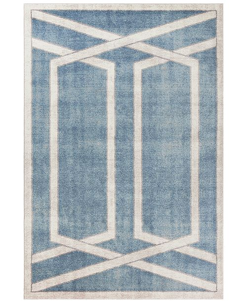"Libby Langdon Winston Directional Border 5817 Teal 5'3"" x 7'7"" Area Rug"