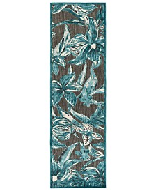 "CLOSEOUT! Surya  Portera PRT-1072 Teal 2'6"" x 7'10"" Runner Area Rug, Indoor/Outdoor"