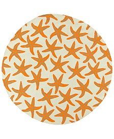 Surya Rain RAI-1136 Bright Orange 8' Round Area Rug, Indoor/Outdoor