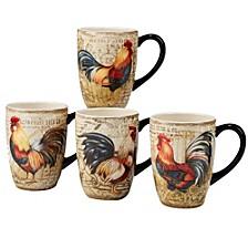 Gilded Rooster 4-Pc. Mug