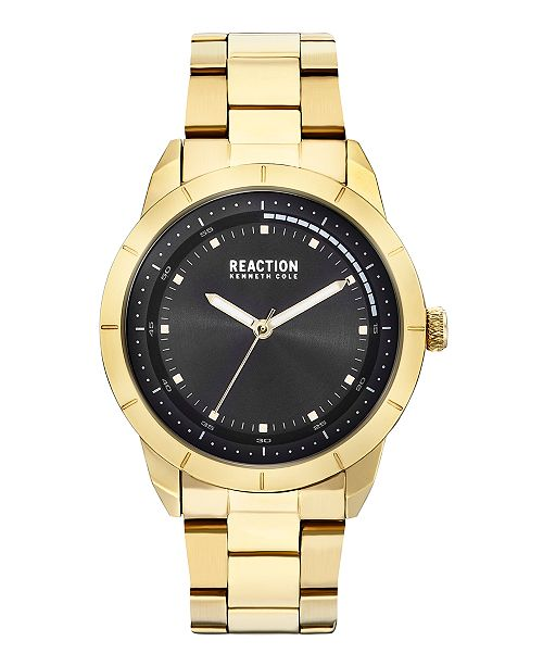 Kenneth Cole Reaction Men's Gold-Tone Stainless Steel Bracelet Watch 44mm