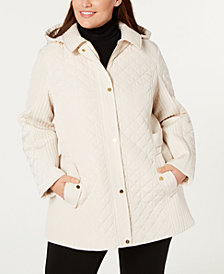 Jones New York Plus Size Quilted Side-Strap Coat