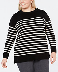 Anne Klein Plus Size Striped Sweater