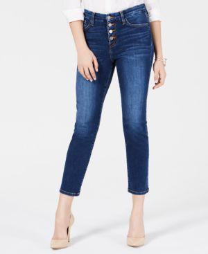 FLYING MONKEY Button-Fly Cropped Jeans in Mammoth