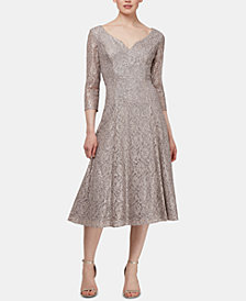 SL Fashions Sequined Lace A-Line Dress