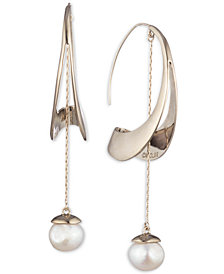 Carolee Gold-Tone Freshwater Pearl (11mm) Sculptural Linear Drop Earrings