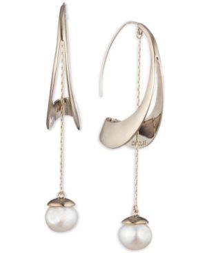 CAROLEE Gold-Tone Freshwater Pearl (11Mm) Sculptural Linear Drop Earrings