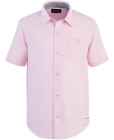 Calvin Klein Big Boys Horizontal Slub-Cotton Shirt
