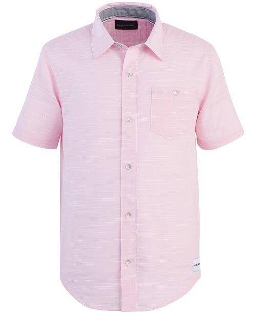 Calvin Klein Big Boys Horizontal Slub-Cotton Shirt