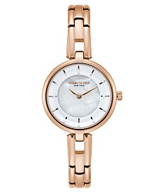 Kenneth Cole New York Ladies MOP Rosegold Tone Bracelet Watch 32mm