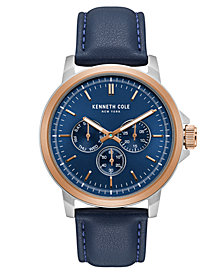 Kenneth Cole New York Men's Multifunction Blue Leather Strap Watch 43mm