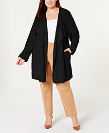 Calvin Klein Plus Size Wing-Collar Open-Front Cardigan