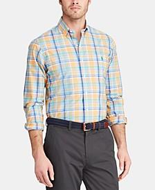 Men's Big & Tall Classic Fit Plaid Cotton Poplin Shirt