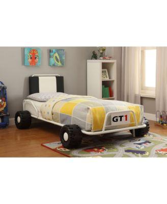 Furniture of America Ramirez Metal Racecar Nightstand in White
