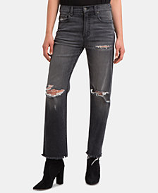 Jordache Destructed Raw-Hem Straight-Leg Jeans