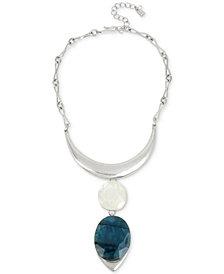 "Robert Lee Morris Soho Silver-Tone Double Sculptural Stone Pendant Necklace, 15-1/2"" + 3"" extender"