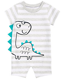 First Impressions Baby Boys Striped Dinosaur Cotton Romper, Created for Macy's