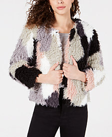 1.STATE Patchwork Curly Faux-Fur Cropped Coat