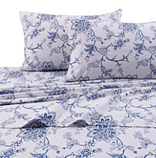 Tribeca Living Flannel 200-GSM Floral Printed Extra Deep Pocket Cal King Sheet Set