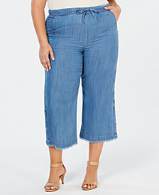 Style & Co Plus Size Button-Cuff Cropped Pants, Created for Macy's