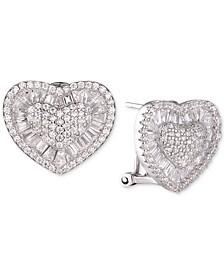 Cubic Zirconia Heart Cluster Stud Earrings in Sterling Silver