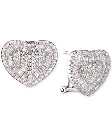 Tiara Cubic Zirconia Heart Cluster Stud Earrings in Sterling Silver
