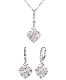 Tiara 2-Pc. Set Cubic Zirconia Heart Pendant Necklace & Matching Drop Earrings in Sterling Silver