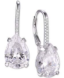Cubic Zirconia Teardrop Drop Earrings in Sterling Silver