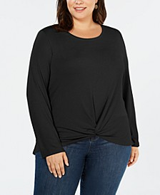 Plus Size Twist-Front Top, Created for Macy's