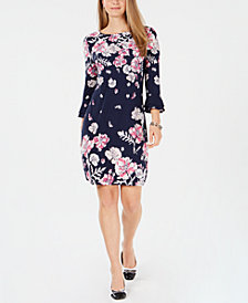 Charter Club Petite Floral-Print Bell-Sleeve Dress, Created for Macy's