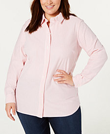 Charter Club Plus Size Cotton Striped Shirt, Created for Macy's