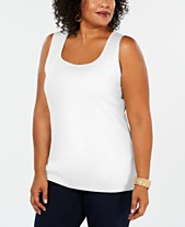 dfd690178a2df Karen Scott Plus Size Cotton Square-Neck Tank Top