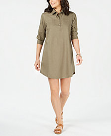 Karen Scott Cotton Woven Shirtdress, Created for Macy's