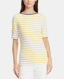 Lauren Ralph Lauren Petite Striped Boat Neck Top