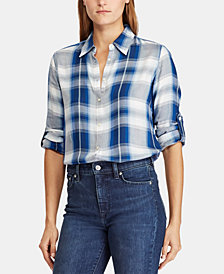 Lauren Ralph Lauren Petite Plaid Twill Shirt
