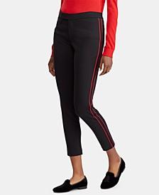Striped Ponté-Knit Skinny Pants