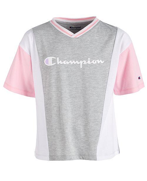 Champion Little Girls Colorblocked Logo-Print T-Shirt