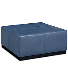 "Halewood 37"" Square Leather Ottoman"