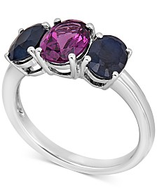 Sapphire (2 ct. t.w.) & Purple Garnet (1-1/2 ct. t.w.) Ring in 10k White Gold