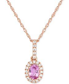 "Pink Sapphire (5/8 ct. t.w.) & Diamond (1/6 ct. t.w.) 18"" Pendant Necklace in 14k Rose Gold"