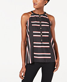 Calvin Klein Striped Button-Front Halter Top