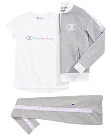 Champion Big Girls Track Jacket, Logo-Print T-Shirt & Taped-Trim Leggings