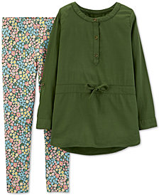 Carter's Little Girls 2-Pc. Olive Top & Ditzy-Print Leggings Set