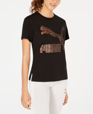 Pum Kiss Arctica Cotton Logo T-Shirt in Puma Black Metallic