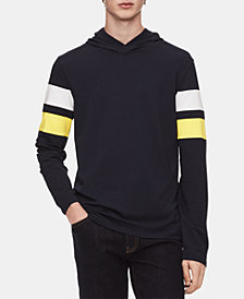 Calvin Klein Men's Striped Sleeve Hooded Sweatshirt
