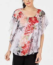 JM Collection Printed Chiffon Poncho Top, Created for Macy's