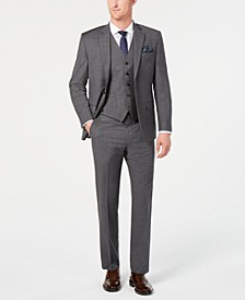 Men's Classic-Fit UltraFlex Stretch Gray Sharkskin Suit Separates