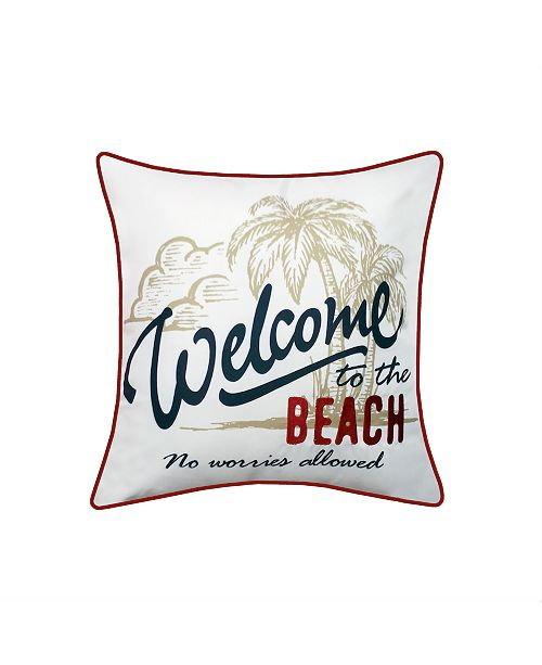 Edie@Home Beach Embroidered Printed Outdoor Pillow