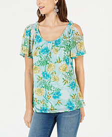 I.N.C. Cold-Shoulder Printed Top, Created for Macy's