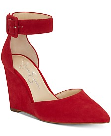 Jessica Simpson Moyra Ankle-Strap Pointed-Toe Wedge Pumps